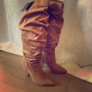 Knee high slouchy suede boots